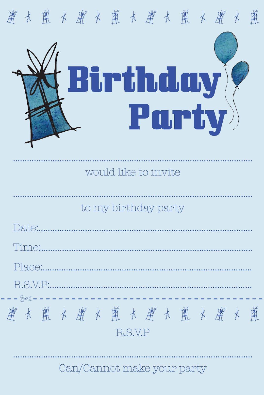 free printable birthday invites for boys party
