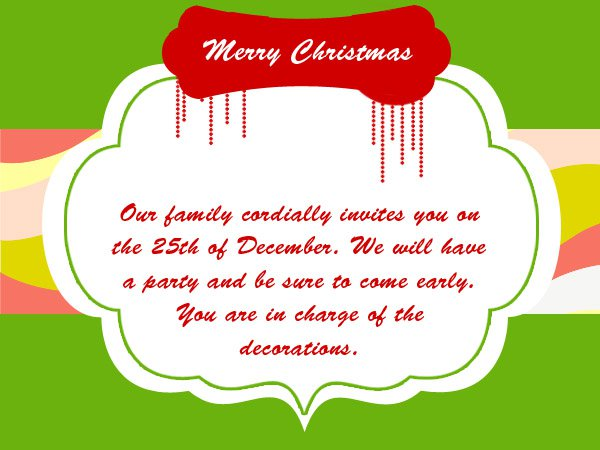 Christmas Drop In Invitation Wording