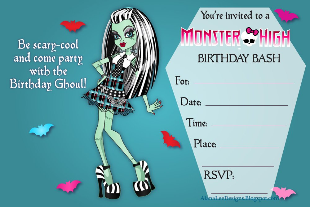 Free Printable Monster High Party Invitations SaveEnlarge