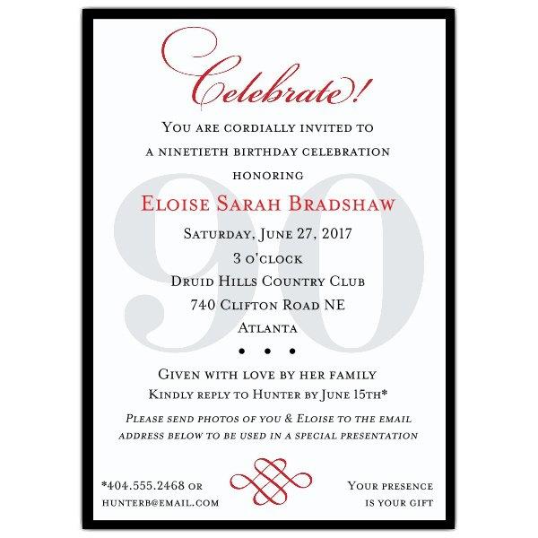 Sample 90th Birthday Invitations