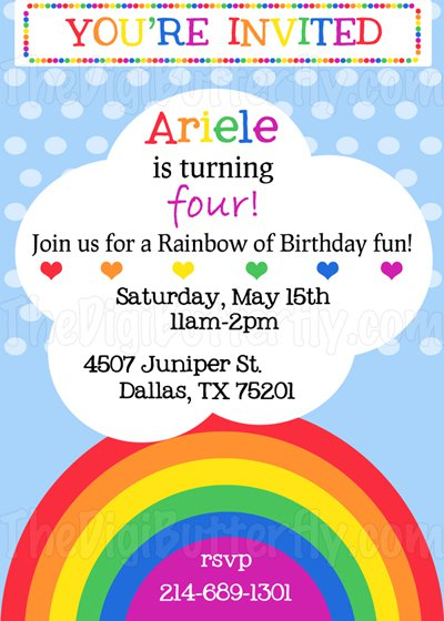 Rainbow Birthday Invitation Wording