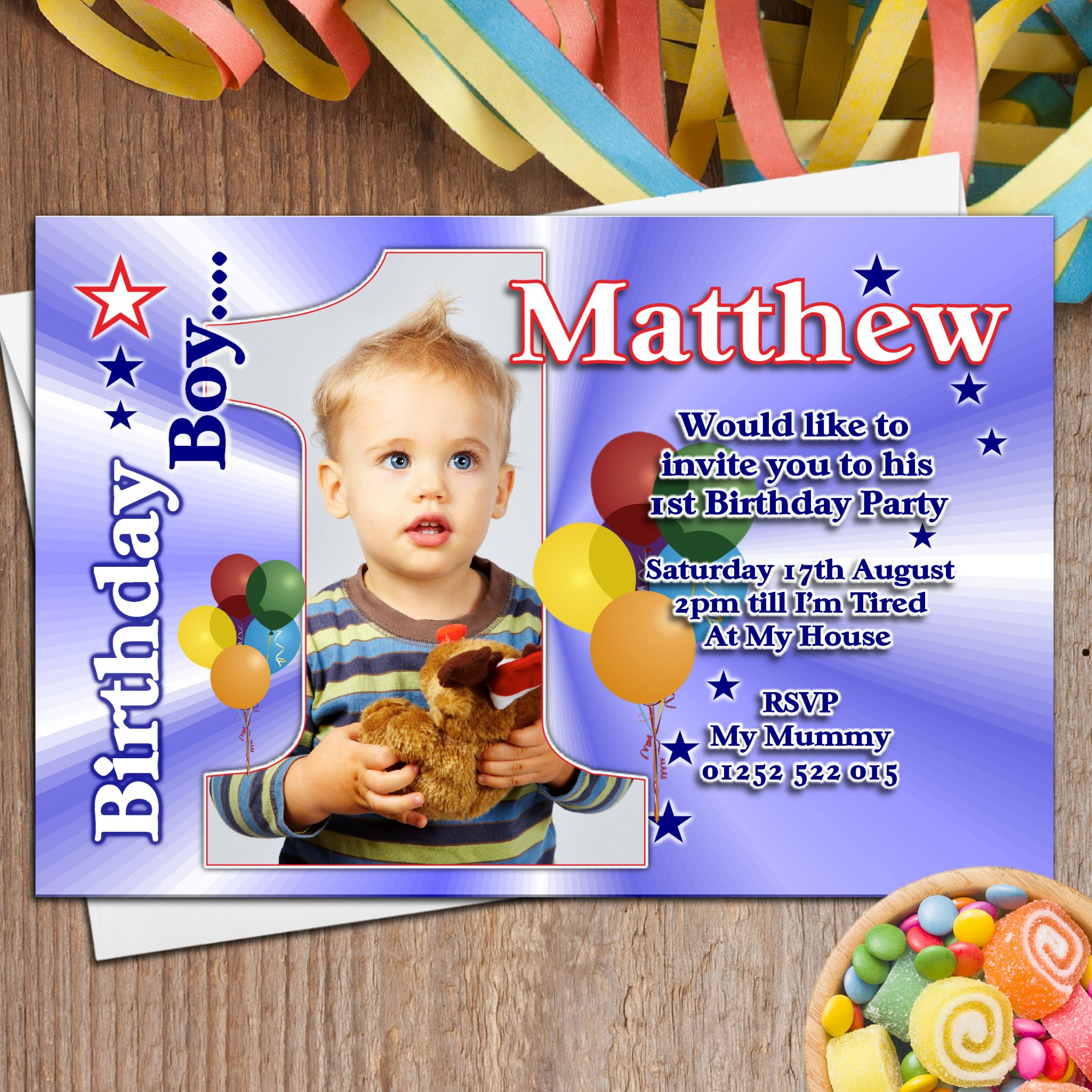 10 personalised boys first 1st birthday party photo invitations n22