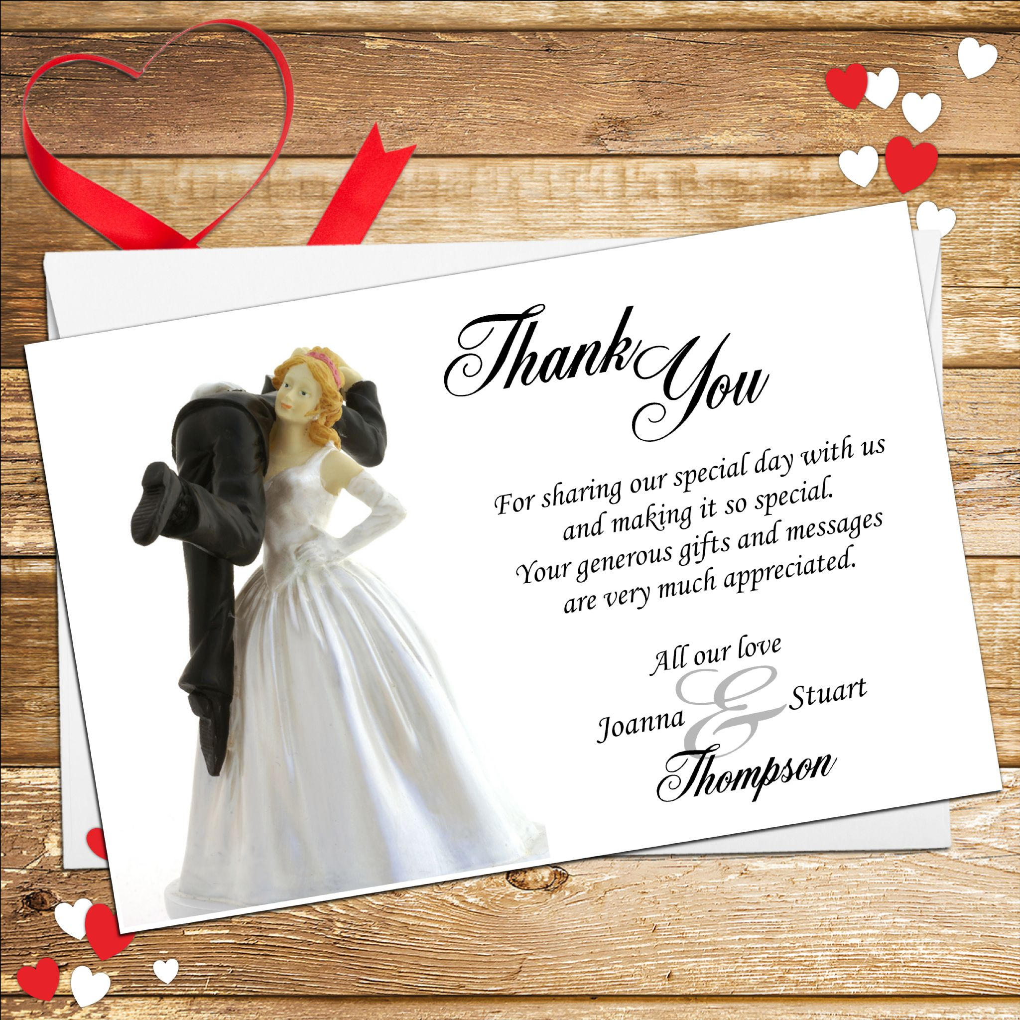 10 Personalised Bride And Groom Humour Wedding Thank You