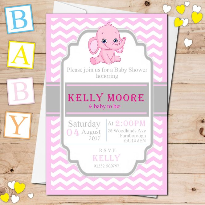 Pink Elephant Baby Shower Invitations N19