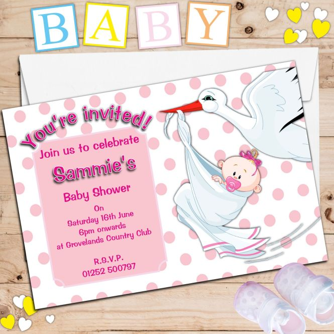 Pink Stork Baby Shower Invitations N14