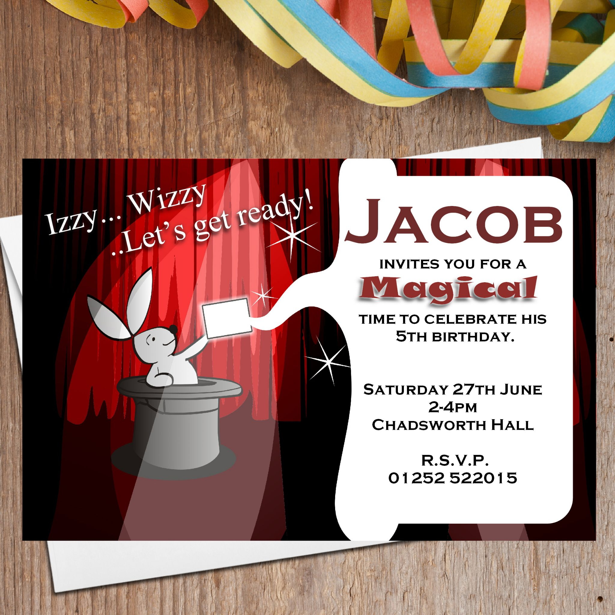 10 Personalised Magic Magician Birthday Party Invitations N2