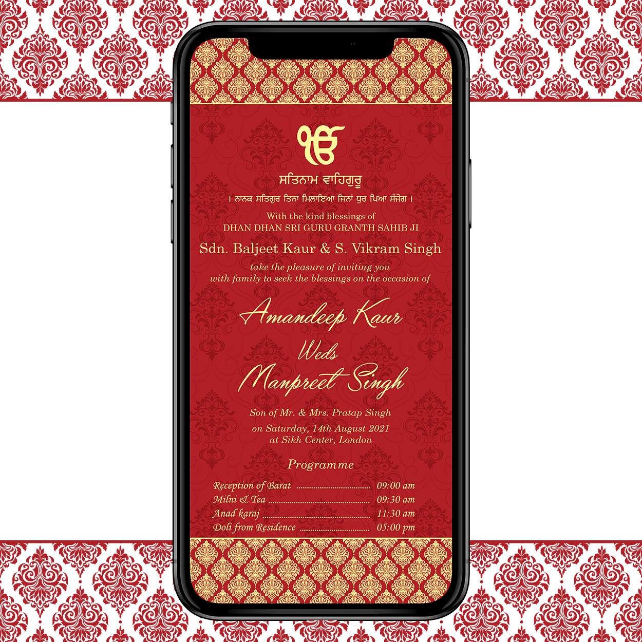 Invites Cafe Sikh Wedding Invitation 002