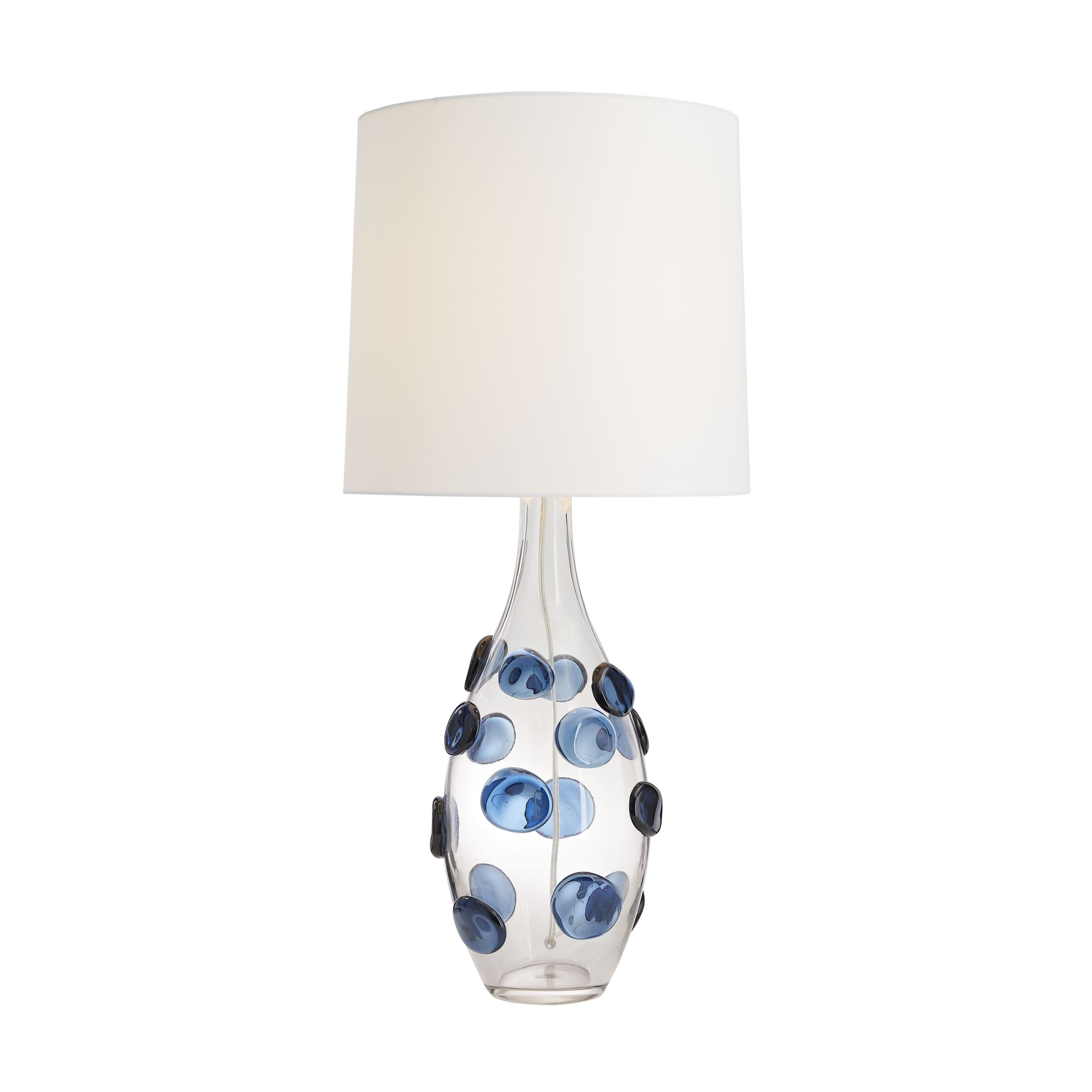 Blown Glass Table Lamp Clear Blown Glass Base With Blue Glass Notes