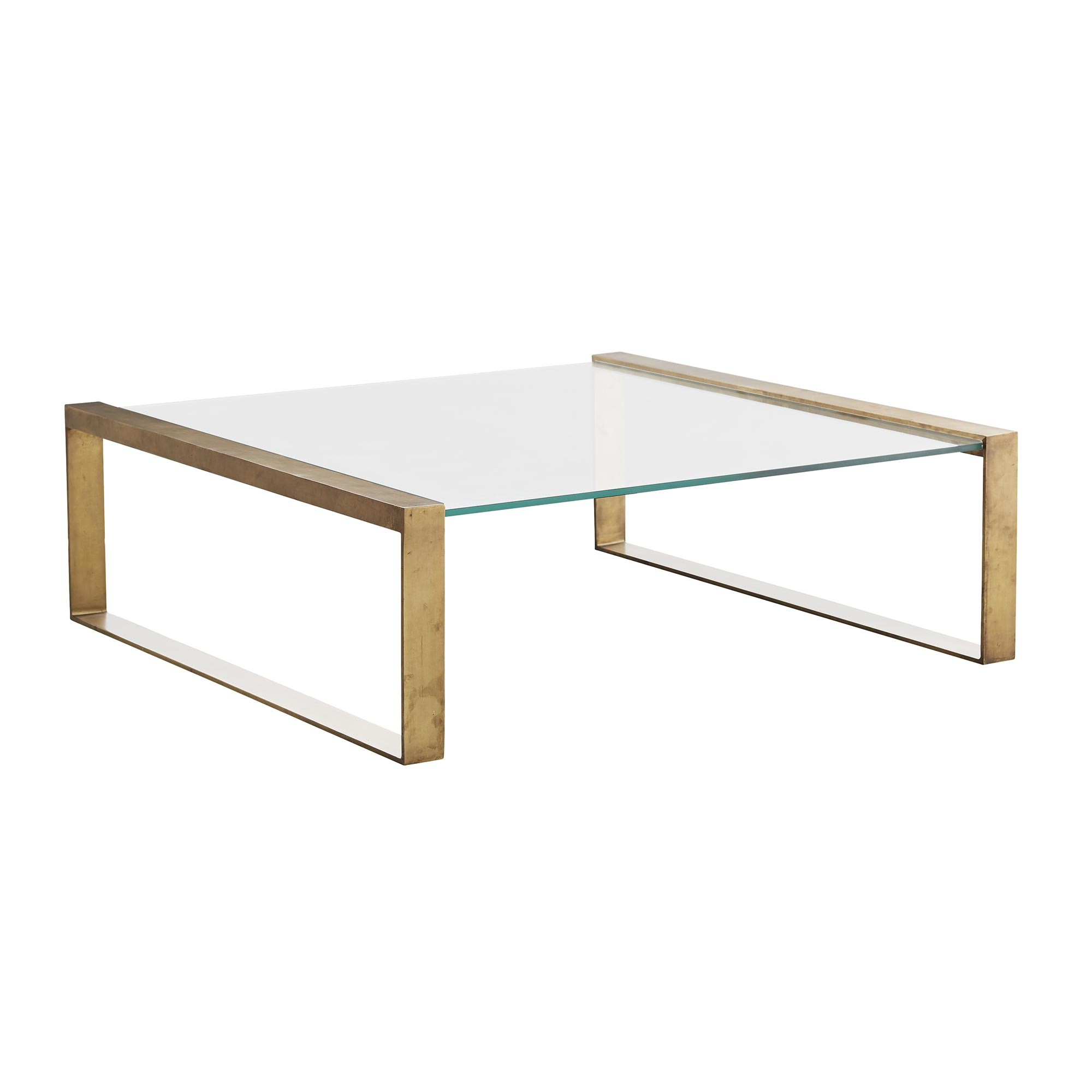 Modern Glass Top Coffee Table Clear Glass Coffee Table In Antique Brass
