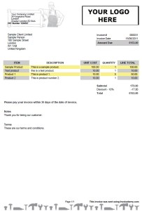 Invoice template for handymen and plumbers