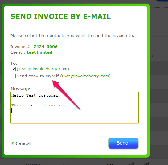 Send a copy of my invoice to my own email address