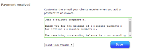 Invoiceberry Settings: Change default payment confirmation message