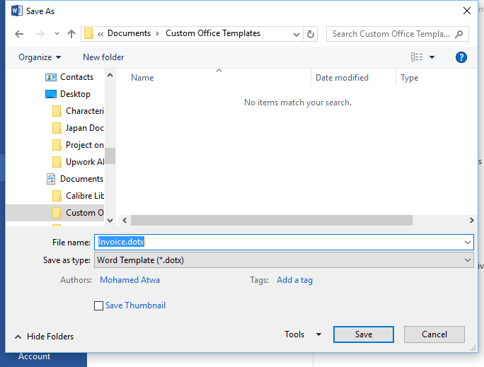 Save invoice template on your computer