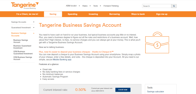 Tangerine's modern yet simple focus is great for small businesses and entrepreneurs looking for a great business savings account