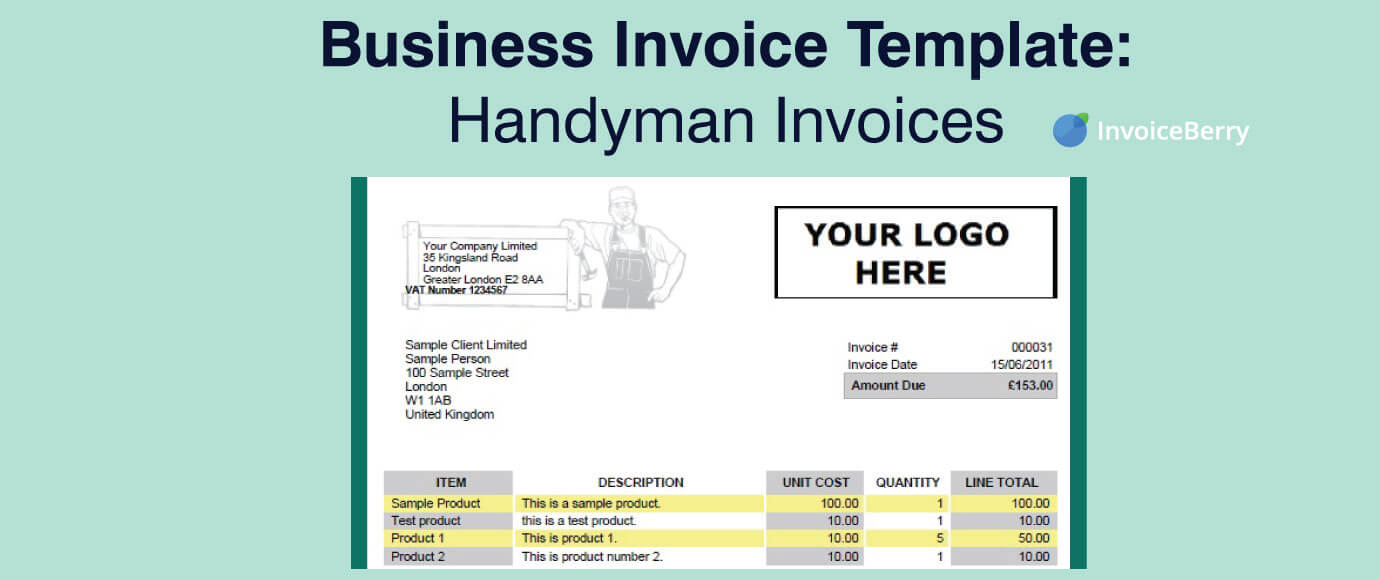The invoice table is divided into sections displaying the type of services with the prices and the taxes if … Business Invoice Template Handymen Invoices Invoiceberry Blog