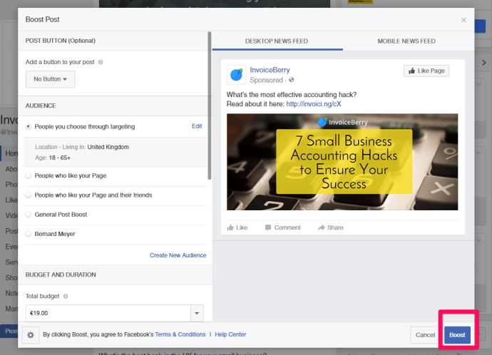 Facebook boost posts is a great way to get started on learning about Facebook ads