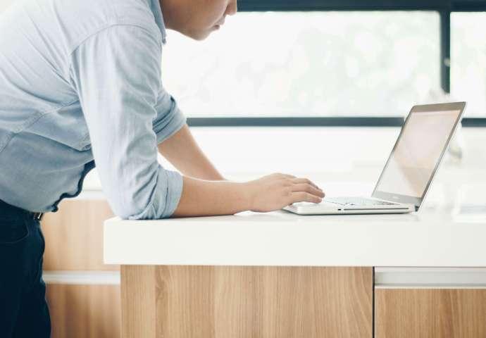 Standing desk in action.