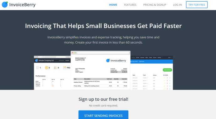 invoiceberry homepage