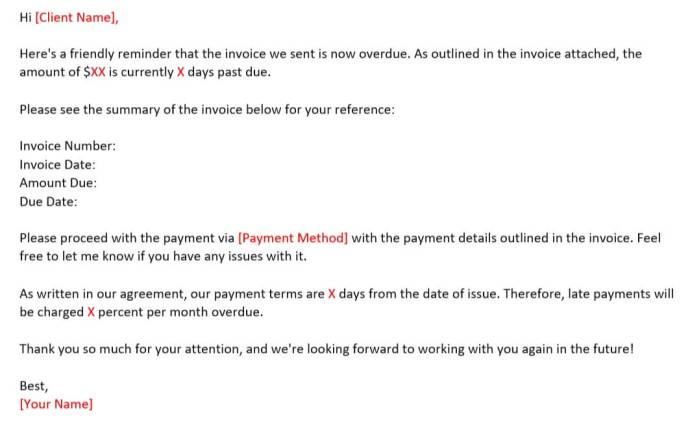 Email Reminder Template  on Late Payment for 15-30 Days
