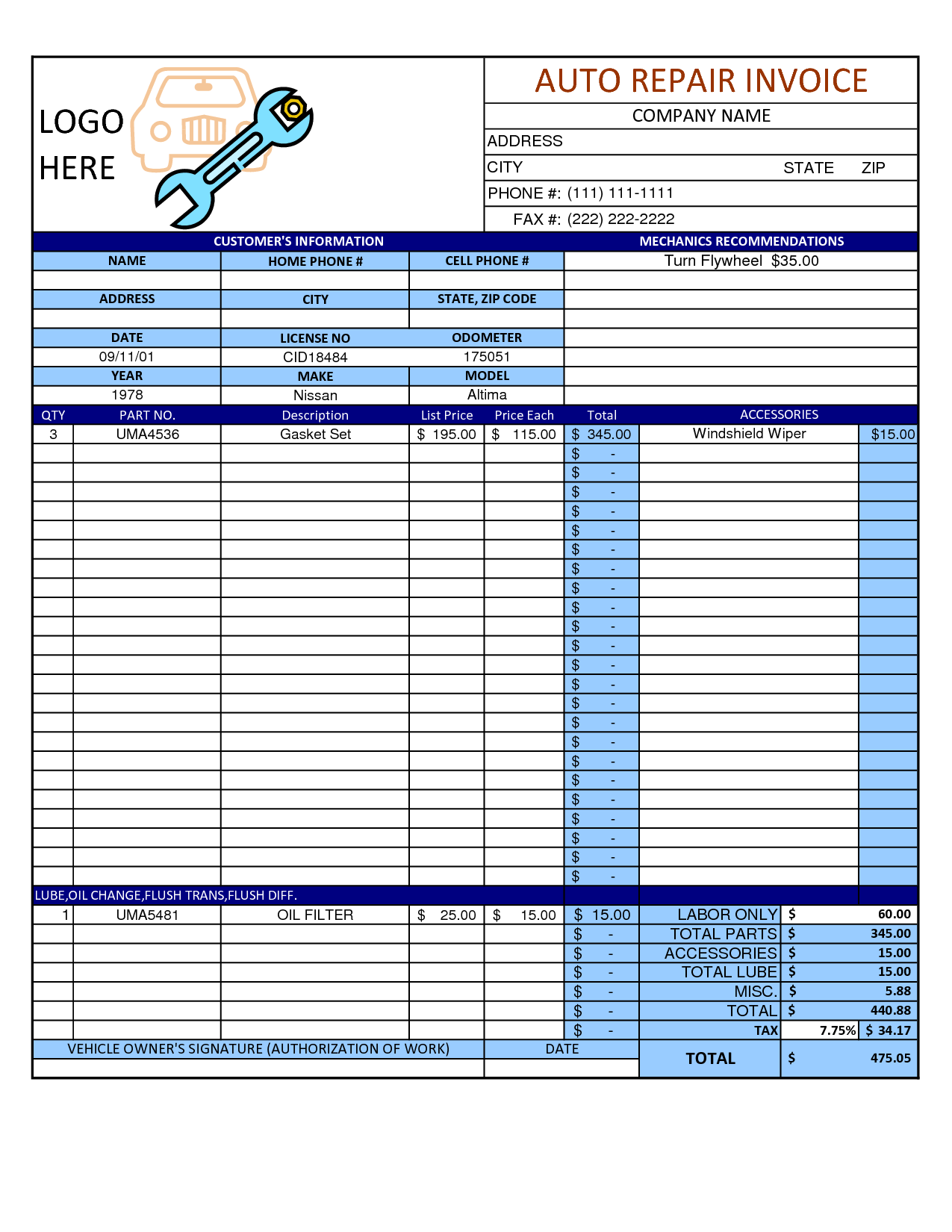 mechanic invoice template excel