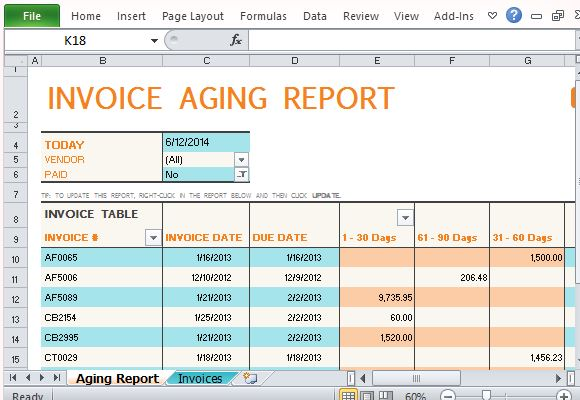 Invoice Aging Report Excel Template Invoice Example
