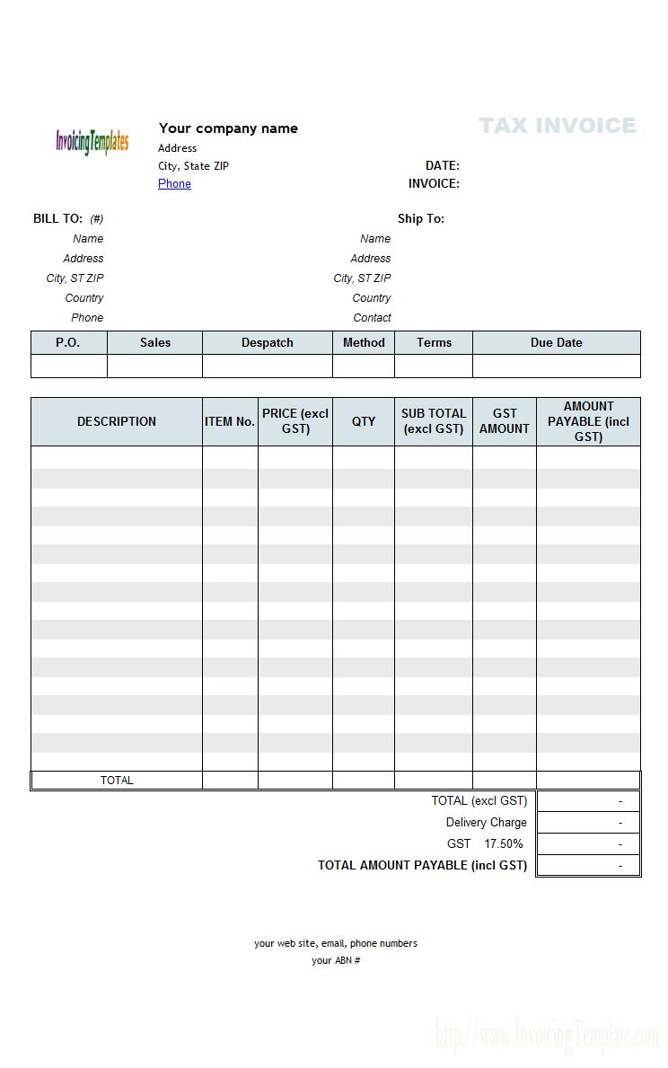 Invoice Template Australia Abn Invoice Example