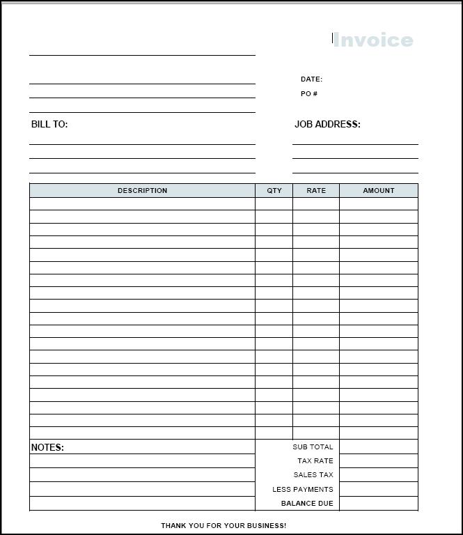 contractors invoices