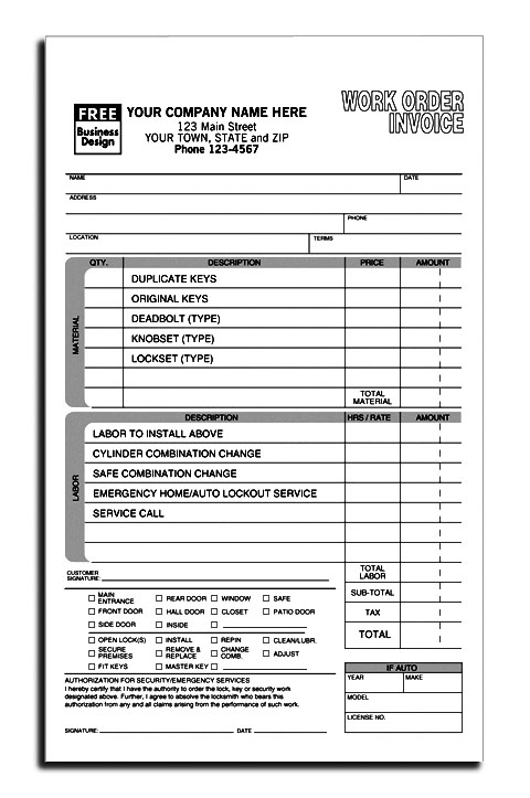work order forms template