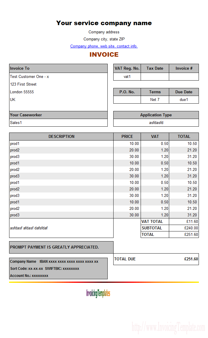 invoice template free online