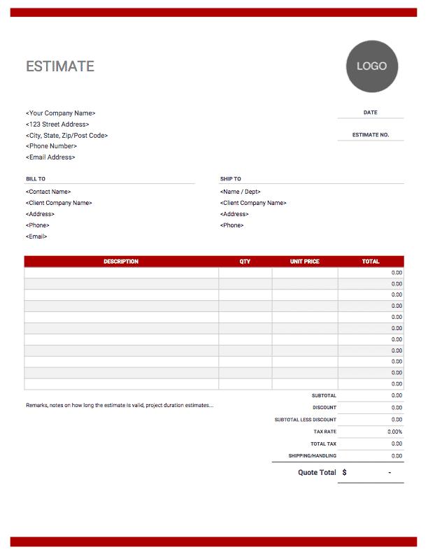 download free estimate forms