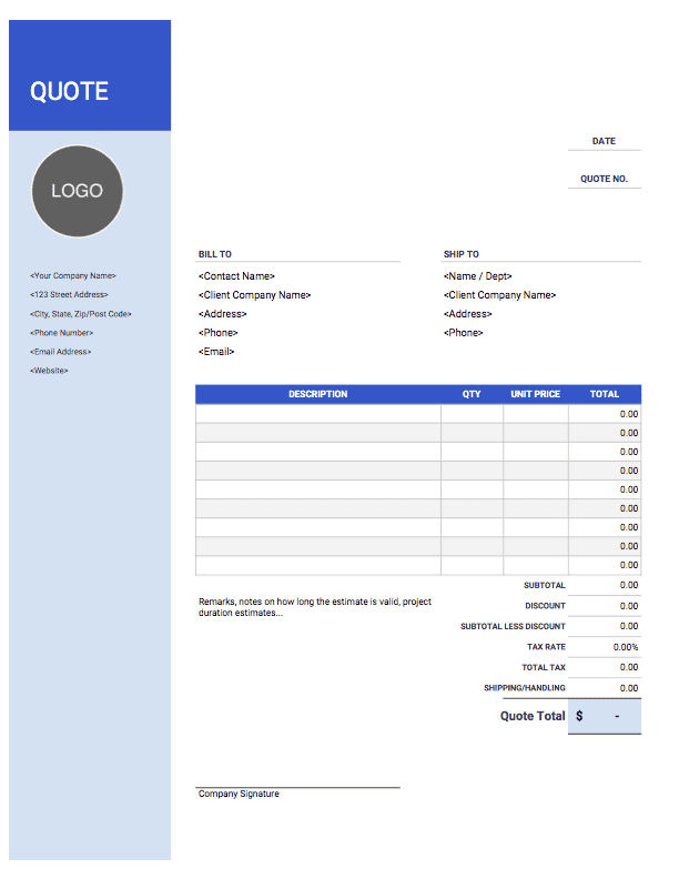 Quote Templates Free Easy Download Invoice Simple