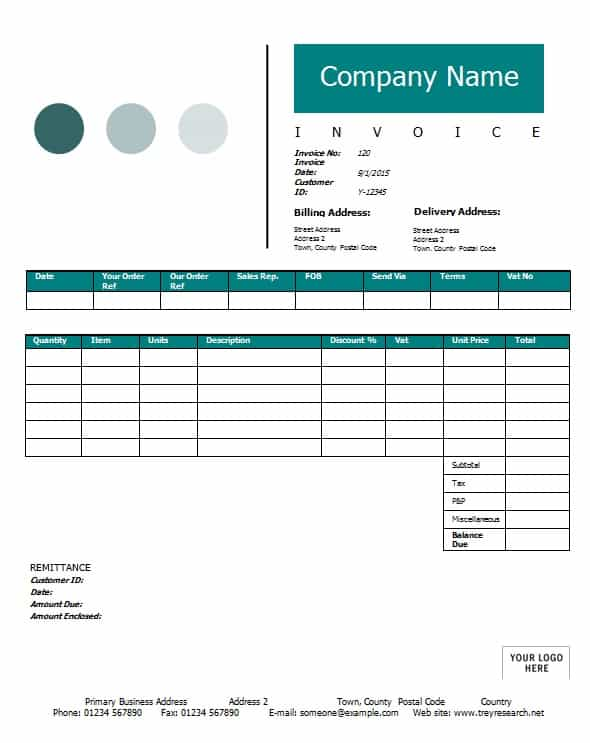 Sales Invoice Template - Printable Word, Excel Invoice Templates