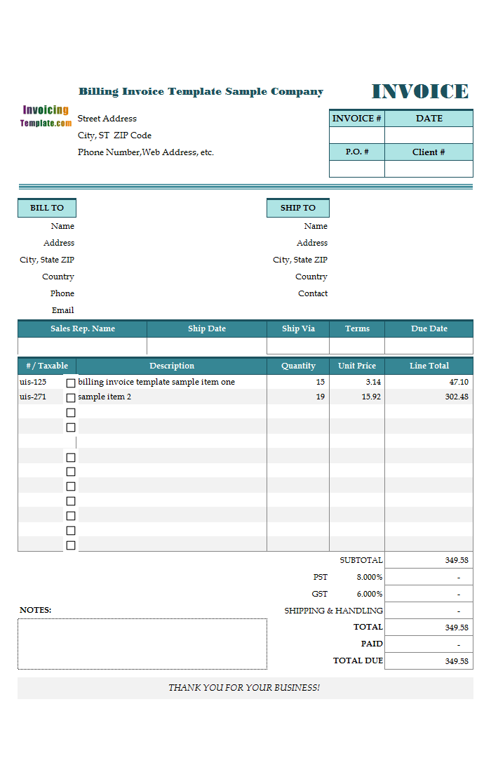 office 2007 invoice template