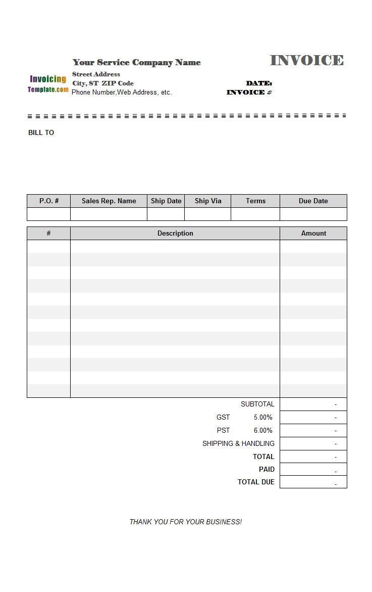 template of invoice for services rendered