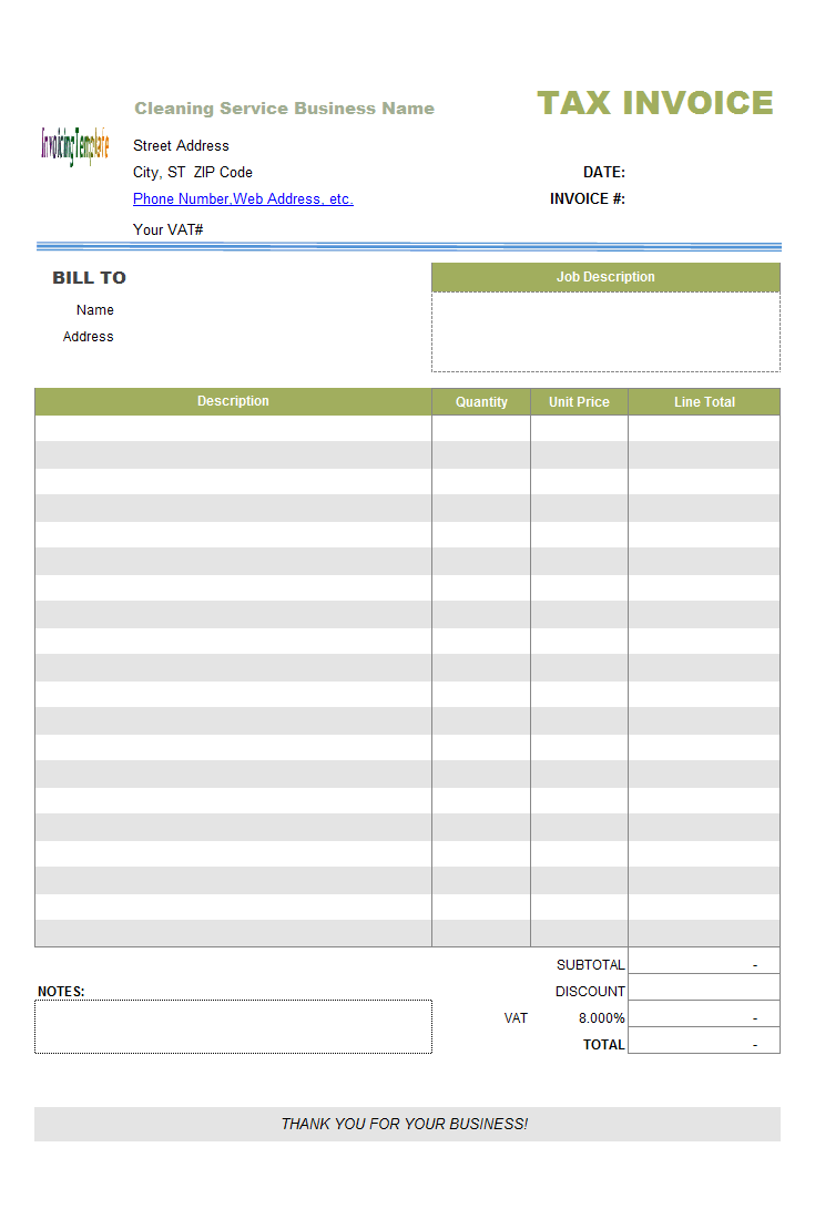 Cleaning Service Invoice Template