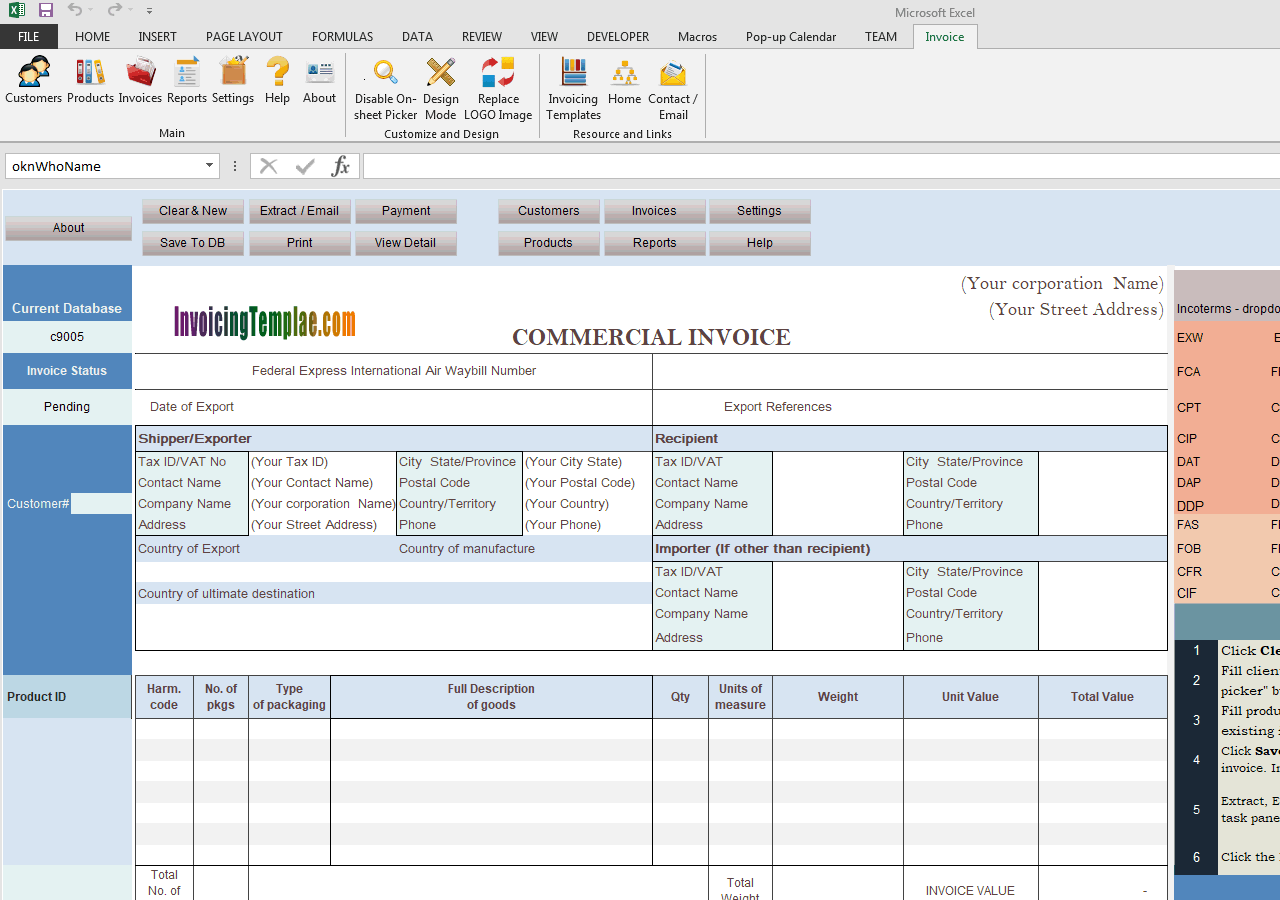Commercial Template Sample Complete Incoterms Option