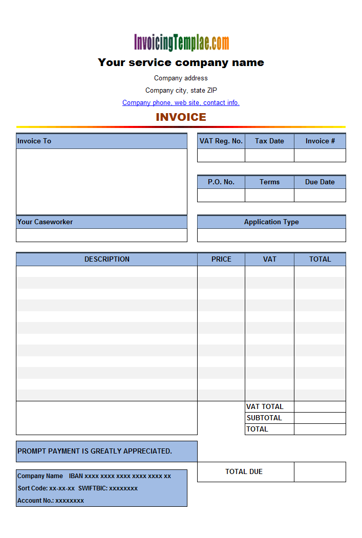 invoice in word