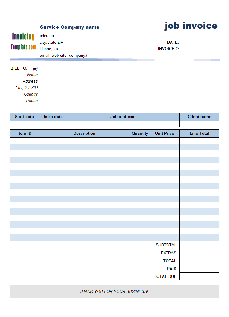 work invoice template free download