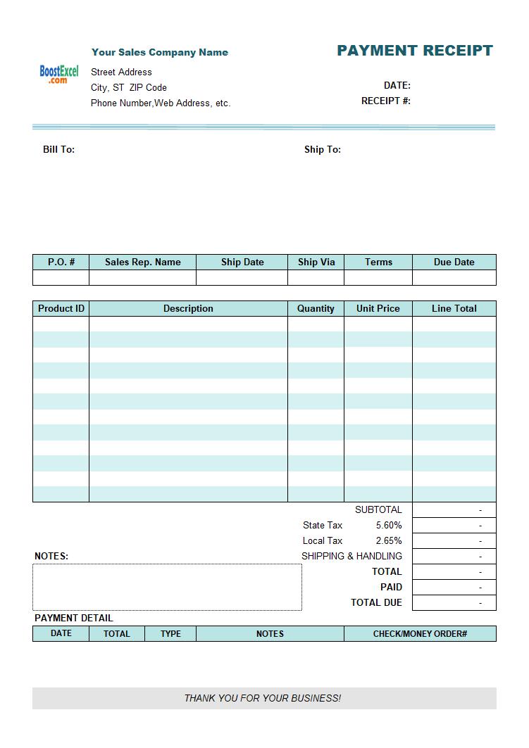 recipt template