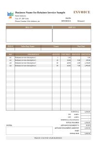 Auto Parts Invoice