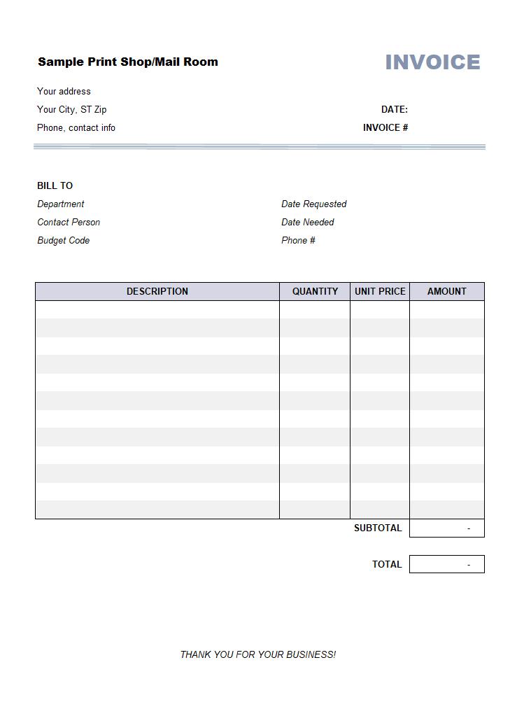 Print Shop Bill Sample