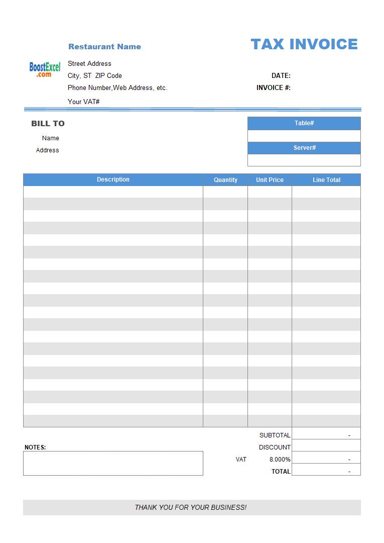 Restaurant Dining Invoice Template VAT