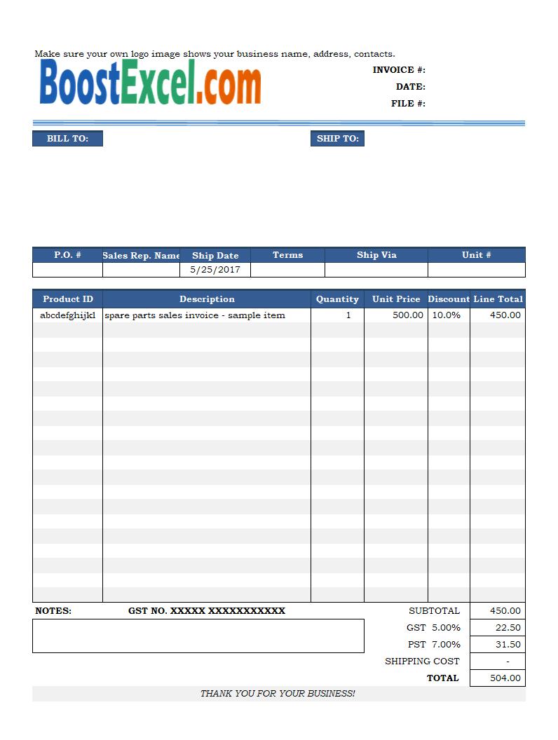 bill of sale invoice