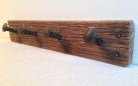 Keruing wood rustic coat rack with railway spike hangers ...