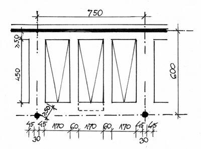 Siatka słupów dla dużego modułu i trzech stanowisk
