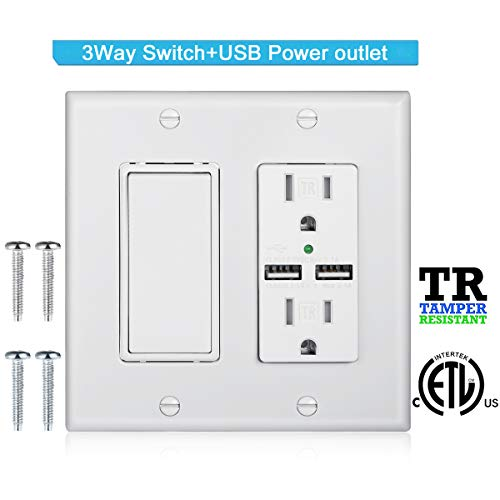 Read more about the article DBillionDa 3-Way Light Switch,USB Outlet Wall Plate(3.1A highspeed Charge) with Decorator Rocker Light Switch, 15A 120V/277V, 3 Wire, Grounding Screw, UL Listed, White