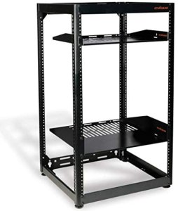 ECHOGEAR 15U Open Frame Rack – Heavy Duty 4 Post Design Holds All Your Network Servers & AV Gear – Includes 2 Vented Shelves & is Wall Mountable