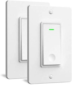 Single Pole Smart Light Switch – Aoycocr in Wall Wi-Fi Light Switch That Work with Alexa Google Home, No Hub Required, Neutral Wire Needed, FCC Listed, 2Pack White