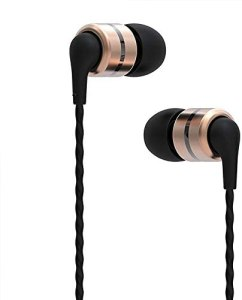 SoundMAGIC in Ear Headphones Noise Isolating Wired Earbuds Powerful Bass HiFi Stereo Headphones for Running Sport, Workout, Travel, Gym, Comptatible for iPhone and Android (E80, Gold)