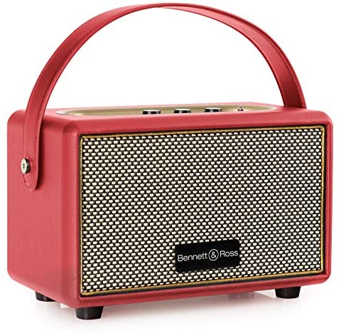 Bennett & Ross BB-820RD Blackmore Junior – Retro Bluetooth Lautsprecher in Lederoptik mit 5200 mAh Akku – Vintage Speaker mit 20W – MicroSD-Eingang mit MP3-Player – 3,5mm Aux-Anschluss – Rot